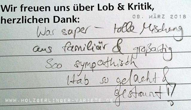 Gäste Empfehlung Holzgerlinger Varieté